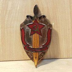 Vintage Soviet USSR KGB Badge Medal Medallion Pin Back w/ SWORD Marked ZUKOV #Zukov #USSR #Soviet #Russia #Badge #Pin #KGB #Sword #Red #Star