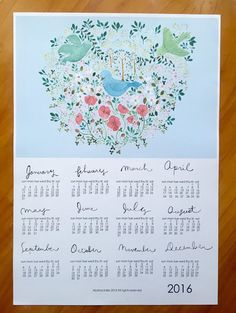 Wall Calendar  Calendar With Flowers In By Mypaperkittens  In