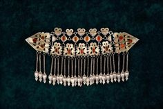 Central Asia | Articulated diadem ~ manlajlyk  ~ from the Tekke people | Silver, gold, carnelian | ca. late 19th to early 20th century