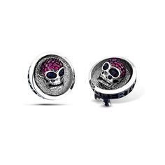 Barbados - Silver Ruby Skull Earrings #topazusa #robertobravo #inspiring #jewelry #silver #earrings