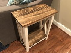 X Side Table Step-By-Step Instructions - Chisel & Fork Farmhouse End Tables, Rustic End Tables, Diy End Tables, Diy Table, Narrow Side Table, Small End Tables, Coffee And End Tables, Diy Furniture Plans, Farmhouse Furniture