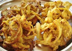 Onion Bhajis (chicpea flour)  These are in the oven now!