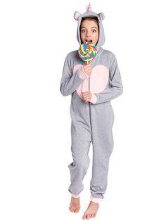 452f440782068 Combinaison légère Pyjama Licorne Gris Chiné Enfant. Alloo · Begummy