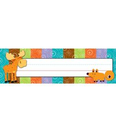 Moose & Friends Nameplates from Carson-Dellosa although i could NOT handle watching the kids tear up their nametag all year if it had a cute moosie on there! Teacher Boards, Teacher Tools, Teacher Stuff, Classroom Themes, Classroom Organization, Forest Classroom, Carson Dellosa, Toy Bins, Camping Theme