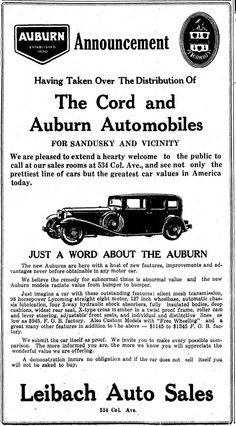 Vintage Newspaper Advertising For the 1931 Cord & Auburn Automobiles In The Sandusky Ohio Register, February 1931 Cord Automobile, Auburn Automobile, Newspaper Advertisement, Advertising, Vintage Advertisements, Vintage Ads, Auburn Car, Sandusky Ohio, Hard Working Man