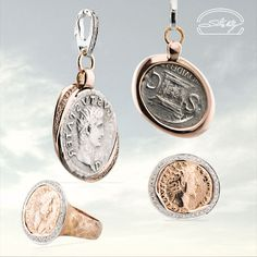 "Ciondolo e Anello Moneta - oro 18kt e diamanti - Coin Pendant and Ring - gold 18kt and diamonds - Precious Jewelry - Jewels - Silvia Kelly Gioielli ""The Made in Italy - Italy - www.quelchevale.it"