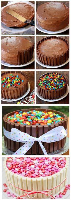 ¿Quieres preparar un pastel rico y diferente? Solo prepara tu receta de pastel favorita y dejar que se enfríe. Asegúrate de que la altura del pastel no sea mayor que el tamaño del Kit-Kat. Cubre la…