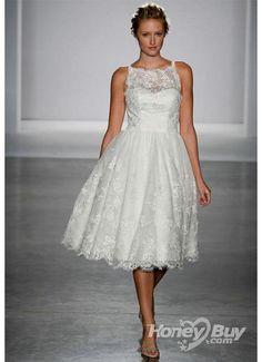 Knee Length Lace Wedding Dress |  Wedding Apparel  Wedding Dresses  Knee Length Funky Luxury Lace ...