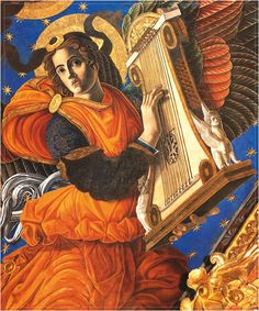 Detalle de ángel músico ce la capilla mayor de la catedral de Valencia.Pintores italianos del renacimiento: Francisco Pagano y Pablo de San Leocadio, contratados en 1472, por el cardenal rodrigo de Borja.