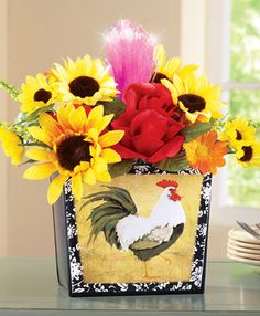 Fiber Optic Floral Arrangement Rooster Planter