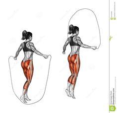 La corde à sauter pour muscler les mollets mais aussi les ischios (arrière cuisse ), fessiers et  augmente l'endurance tout en brûlant des calories.