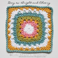 Life Made Creations: Square-a-Day: 23 through 26 {and a work in progress} Crochet Circles, Crochet Blocks, Crochet Squares, Crochet Granny, Crochet Motif, Crochet Stitches, Crochet Patterns, Crochet Afghans, Knit Crochet
