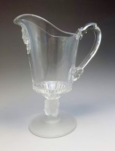 Antique 19thC George Duncan Creamer Pitcher Three Faces Pressed Glass 1880's