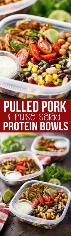 Pulled Pork Pulse Protein Bowl with instant pot pulled pork, a 3 bean pulse salad, and lots of other yummy stuff. #ad #lovepulses