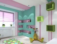 Wand aus Gipskarton in Mintgrün und rosa Streifen an der Wand