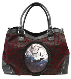 NEW Banned Gothic Burgundy Red Ivy Flocked Bats Moon Handbag Extra Strap Black in Clothes, Shoes & Accessories, Women's Handbags | eBay