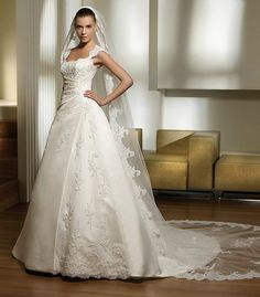 Elegant A Line Chapel Train Strapless Pleated Lace Cap Sleeves Ivory Wedding Dresses eurowd052 by shop-wedding-dress.com