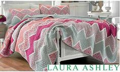 Laura Ashley Ainsley Pieced Cotton Quilt Berry Pink Coral Blue Aqua Orange