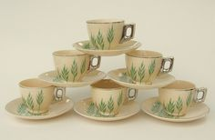Set of 6 demitasse cups & saucers: Leigh Ware Ultra Moderne Green Wheat.