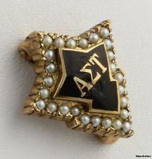Alpha Sigma Tau Genuine Pearl Badge - 10k Solid Yellow Gold Enameled Vintage Pin