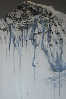 "Sevina Yates Fine Art Melting Jungfrau  Winning painting in the David Shepherd wildlife artist of the year ""Wild Places "" category . Mountain painting . Switzerland . Acrylic ."