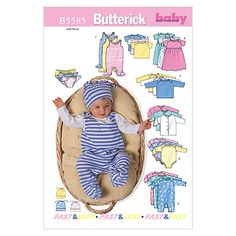 Infants' Jacket, Dress, Top, Romper, Diaper Cover and Hat-PRE (PRE-NB-S) Pattern at Joann.com