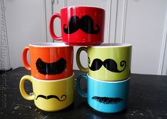 Colorful Mustache Mugs -Mugs (from Target), black DecoArt Glass Paint Marker (you could use a Sharpie too).You need to let them dry for 4 hours before baking. Then you just put them on a cookie sheet and place them into a cold oven. Turn the temp on to 375 F and set the timer for 40 minutes. Let cool and you're done!