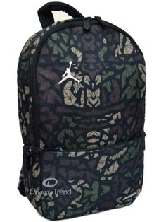 b21bf620370c Nike Air Jordan Backpack Toddler Preschool Boy Black Green Small Camo Bag