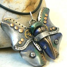 Blue and green steampunk butterfly pendant | Flickr - Photo Sharing!