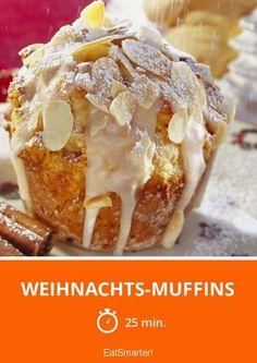 Weihnachts-Muffins - mit zerbröseelten Spekulatius, Orangenschale und Mandeln - Zeit: 25 Min. | eatsmarter.de