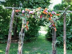 A rustic and organic canopy for Colin and Dana's ceremony at Tyler Arboretum.