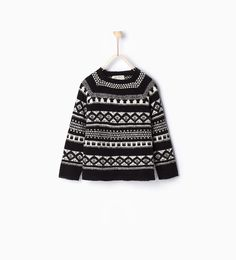 Image 1 of Jacquard knit sweater from Zara Fair Isle Pattern, Fashion Catalogue, Kids Fashion Boy, Zara Kids, Girls Sweaters, Kind Mode, Kids Boys, Crochet Top, Latest Trends