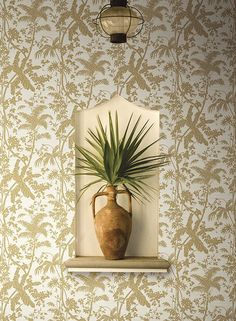 Palm Shadow Wallpaper in Beige design by York Wallcoverings