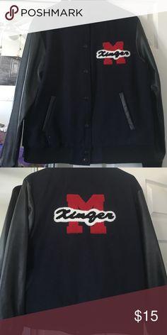 Letterman Jacket Dark Navy Blue letter man jacket! Never worn ❤️ Forever 21 Jackets & Coats