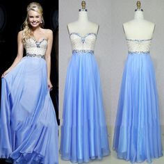 2015 Prom Dresses A-Line Strapless Chiffon with Crystal Sequins Beaded Sleeveless Backless Floor Length Beach Dresses Prom Gowns from Gonewithwind,$167.54 | DHgate.com