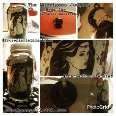 The Morrigans Journey Raven Queen Samhain Goddess Art Basic Moon Jar Hand Altered Gratitude/Wish/Hope/Manifestation Jar by Carole Anzolletti by ThePhantomQueensLab on Etsy
