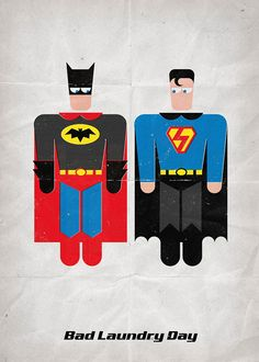 "Superman & Batman in ""Bad Laundry Day"". Print 12x17in (30x42cm) plus FREE Button Pin on Etsy, 121,35 kr"