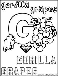Coloring Pages Of Gorillas Free - Coloring For Kids 2019 Free Coloring, Coloring Pages For Kids, Free Printable Coloring Pages, Free Printables, Images Of Colours, Letter G, Toddler Art, Colouring Pages, Colorful Pictures