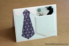 Congratulations Tie Card With Giftcard Pocket made with the Silhouette | Parental Perspective