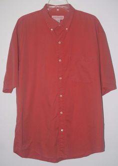 Banana Republic Casual Button Front Shirt XL Salmon Short Sleeve #BananaRepublic #Menswear