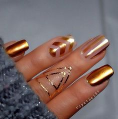 Metallic nail art.