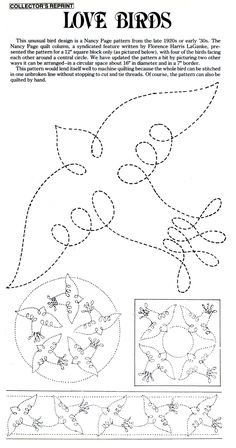 Love-Birds-Nancy-Page. Great ideas for stitching!