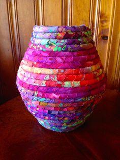 Tall Fabric Coiled Pot in Red & Purple Batiks by JustJenniferB