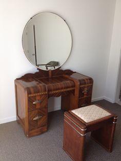 1930's Art Deco Waterfall Bedroom Furniture - 6 Pieces. $900.00, via Etsy.