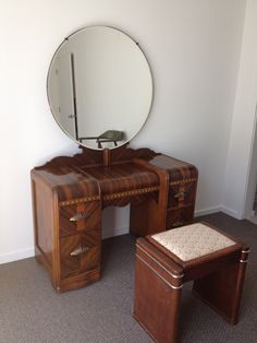 1930's Art Deco Waterfall Bedroom Furniture - 6 Pieces. $900.00, via Etsy.