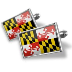 "Neonblond Cufflinks ""Maryland"" Flag region: America (USA) - cuff links for man NEONBLOND Cufflinks. $29.90. We have more then 4000 different Cufflinks. Unique Gift for the Modern Classic Man. Standard Size is approximately 19mm x 12mm. Comes with our Free Velvet / Satin Bag. Products are Assembled in America. Save 50% Off!"