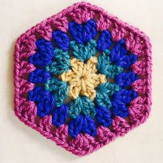 Make a crochet hexagon to join into an afghan, or use for a cute bunting decoration.