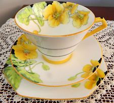 C 1930's Art Deco Paragon Conical Cup Saucer Plate Trio Iceland Poppies H/P