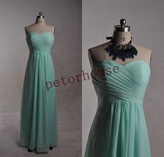Mint Long Bridesmaid Dresses with Peacock Necklace by petorhouse
