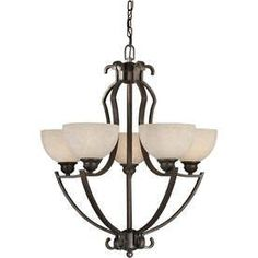 Shandy 26-In 5-Light Antique Bronze Tinted Glass Candle Chandelier Lw2